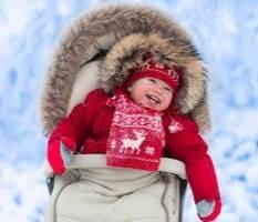 Фото: Ребёнок в коляске зимой