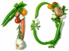 Рис. Цифра 10 из овощей и фруктов