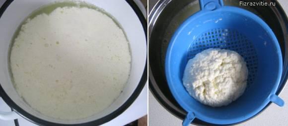 Фото: Рецепт сыра - влить сыворотку в молоко, процедить, посолить